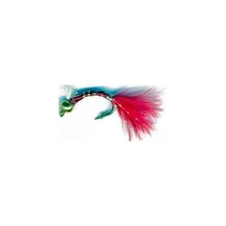 3D Glass Epoxy Bead Head Nymph Bloodworm Marabou